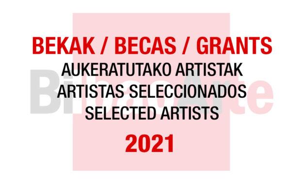 Listado de artistas seleccionados para las Becas con cesión de estudio BilbaoArte 2021