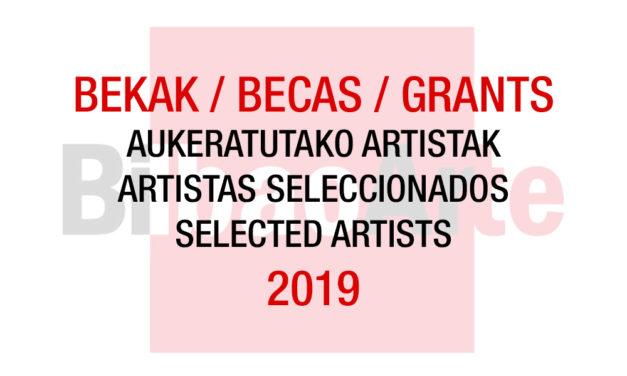 Listado de artistas seleccionados <br>Becas BilbaoArte 2019