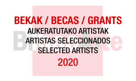 Listado de artistas seleccionados para las Becas con cesión de estudio BilbaoArte 2020